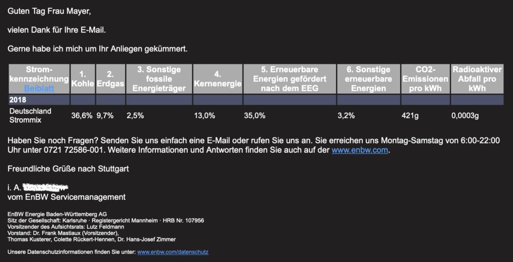 Welchen Strom tankt man an der Ladesäule der EnBW in Stuttgart?